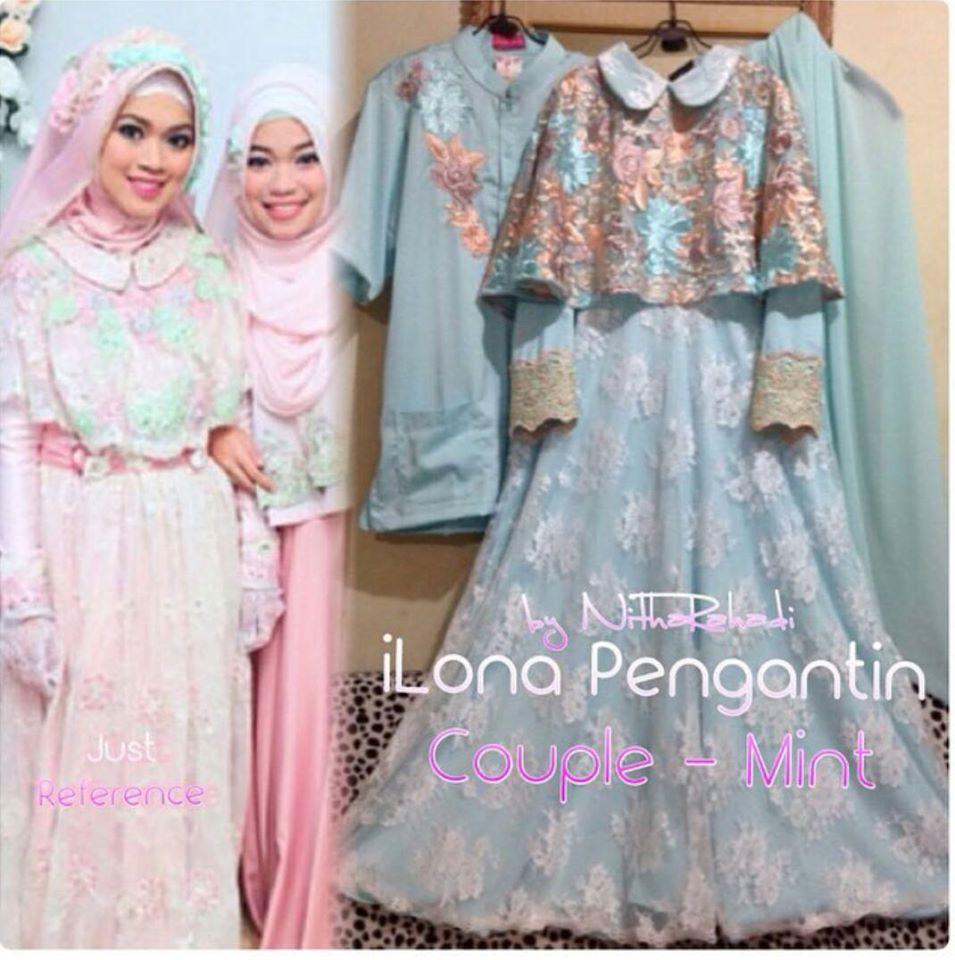 Gaun Muslimah Anak gaun pesta satin brukat murah jual