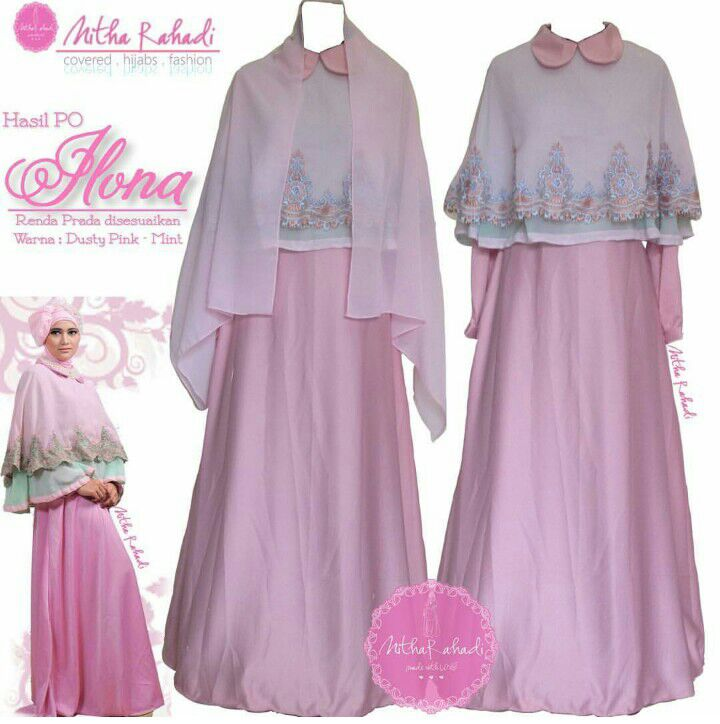 Gamis pesta dan baju lebaran seragam keluarga ilona dress Baju gamis pesta muslim