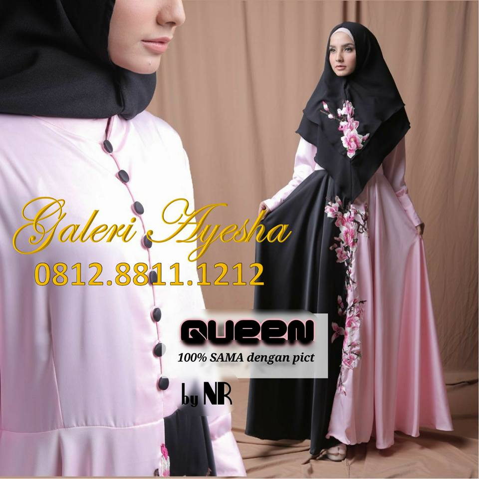 Gamis Syari Bordir Set Hijab Queen Party Dress Baju